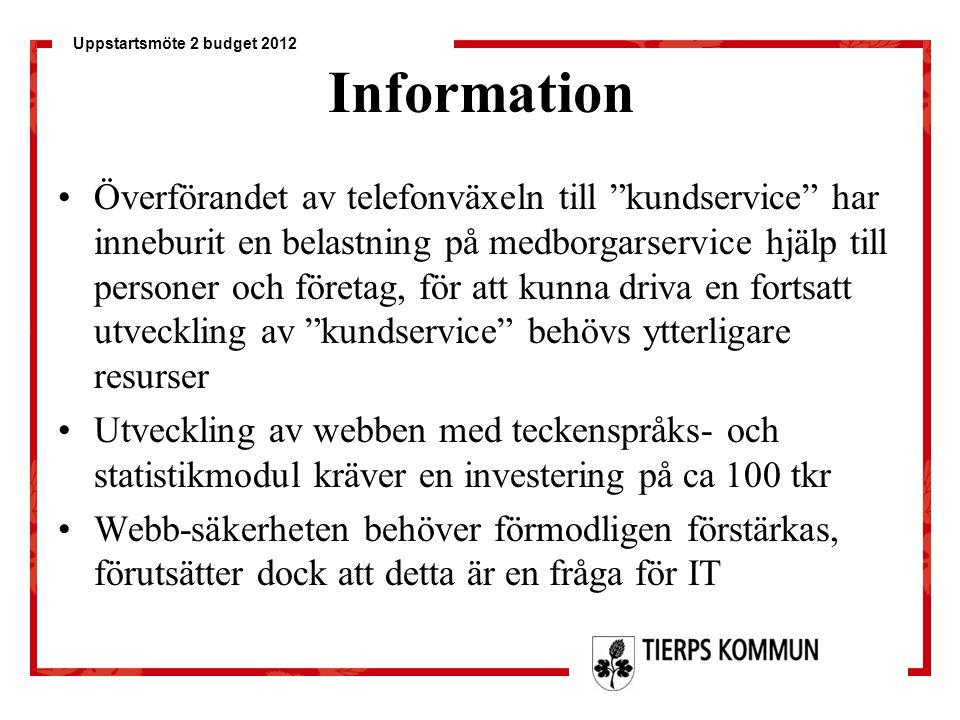 """Uppstartsmöte 2 budget 2012 Information Överförandet av telefonväxeln till """"kundservice"""" har inneburit en belastning på medborgarservice hjälp till pe"""