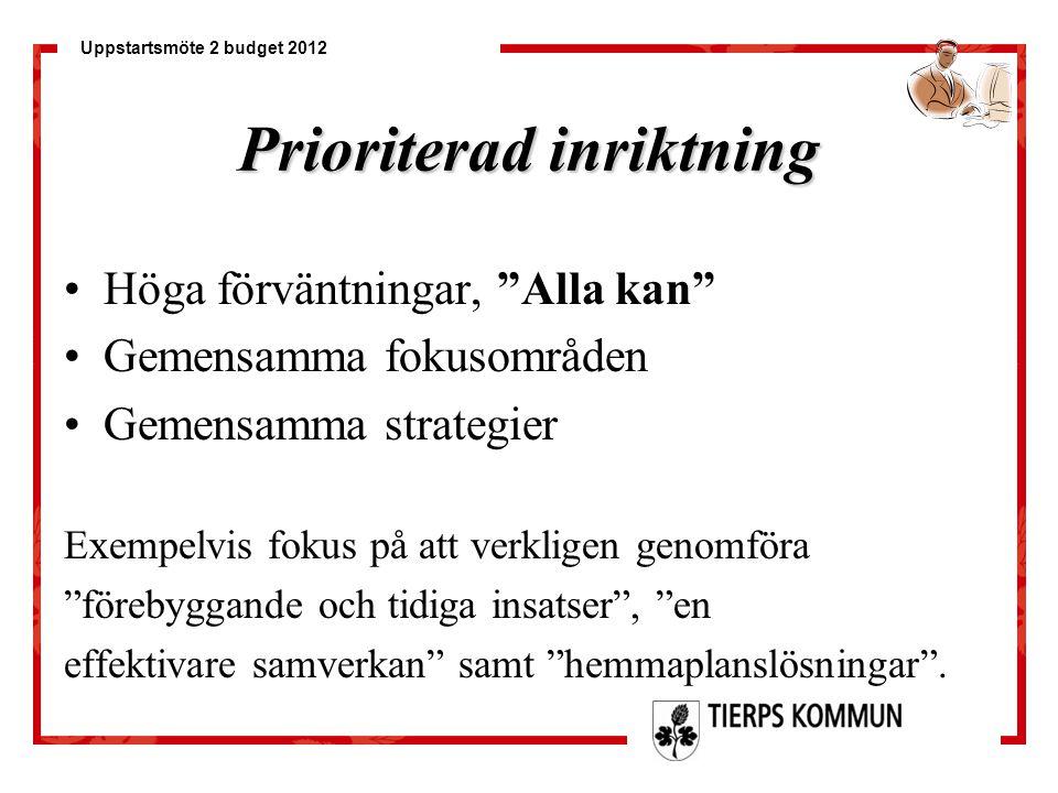 """Uppstartsmöte 2 budget 2012 Prioriterad inriktning Höga förväntningar, """"Alla kan"""" Gemensamma fokusområden Gemensamma strategier Exempelvis fokus på at"""