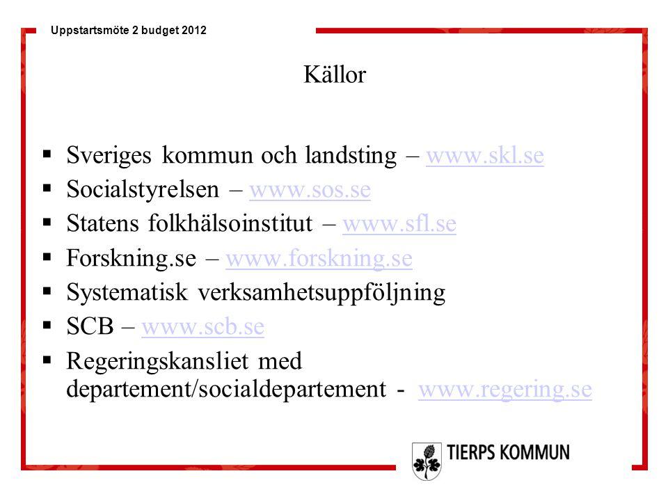 Uppstartsmöte 2 budget 2012 Källor  Sveriges kommun och landsting – www.skl.sewww.skl.se  Socialstyrelsen – www.sos.sewww.sos.se  Statens folkhälso