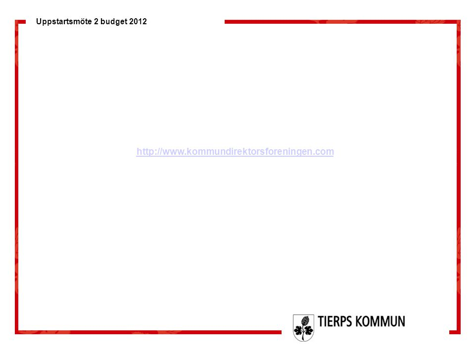 Uppstartsmöte 2 budget 2012 Näringsliv Näringslivet expanderar i kommunen och vi förväntar en fortsatt tillväxt Nyföretagandet ökade 2010 med drygt 50 % från 77 till 116 företag, Tierp klättrade i rankingen från 180:e plats till 95:e plats Tierp har gått in som en av huvudaktörerna i Regionförbundets ERUF projekt Arenor för tillväxt , projektet medför att ca 200 tkr per år tillförs för aktiviteter och konsultinköp för utvecklingen av näringslivet i kommunen under en treårsperiod För att ta tillvarata de ringar på vattnet som Tierp Arena medför, och för att utnyttja de resurser vi erhåller från ERUF-projektet behövs en ny resurs på halvtid