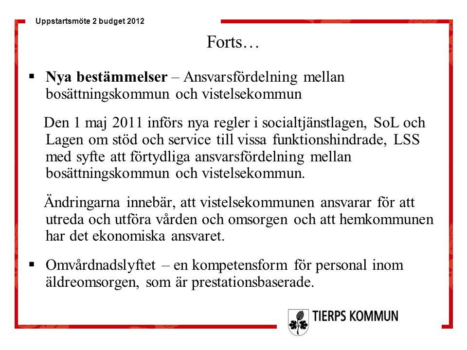 Uppstartsmöte 2 budget 2012 Forts…  Nya bestämmelser – Ansvarsfördelning mellan bosättningskommun och vistelsekommun Den 1 maj 2011 införs nya regler
