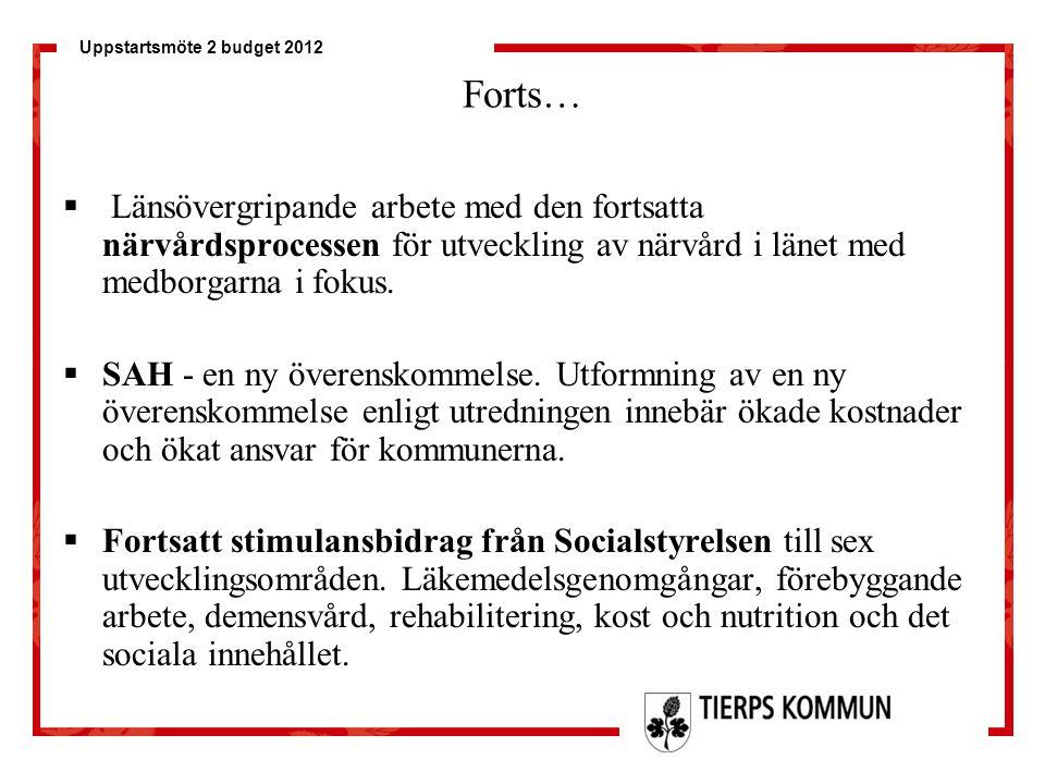 Uppstartsmöte 2 budget 2012 Forts…  Länsövergripande arbete med den fortsatta närvårdsprocessen för utveckling av närvård i länet med medborgarna i f