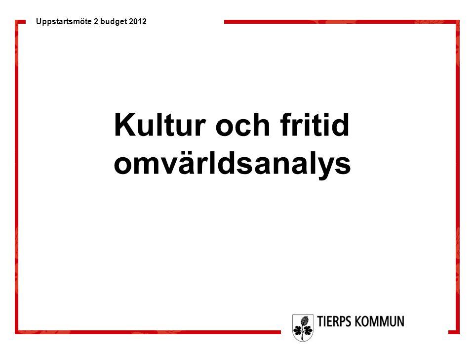 Uppstartsmöte 2 budget 2012 Kultur och fritid omvärldsanalys