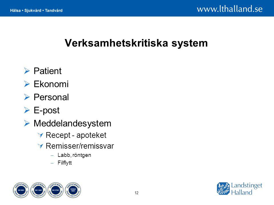 12 Verksamhetskritiska system  Patient  Ekonomi  Personal  E-post  Meddelandesystem  Recept - apoteket  Remisser/remissvar – Labb, röntgen – Filflytt