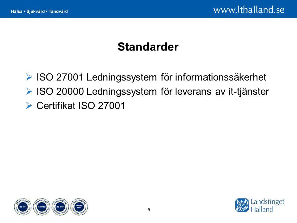19 Standarder  ISO 27001 Ledningssystem för informationssäkerhet  ISO 20000 Ledningssystem för leverans av it-tjänster  Certifikat ISO 27001