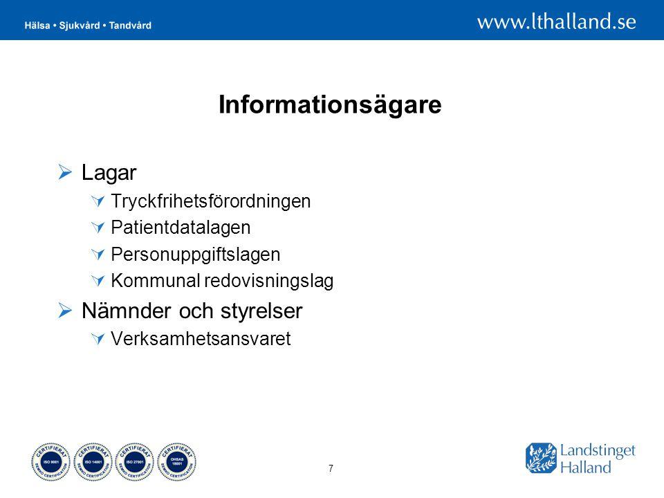 7 Informationsägare  Lagar  Tryckfrihetsförordningen  Patientdatalagen  Personuppgiftslagen  Kommunal redovisningslag  Nämnder och styrelser  Verksamhetsansvaret