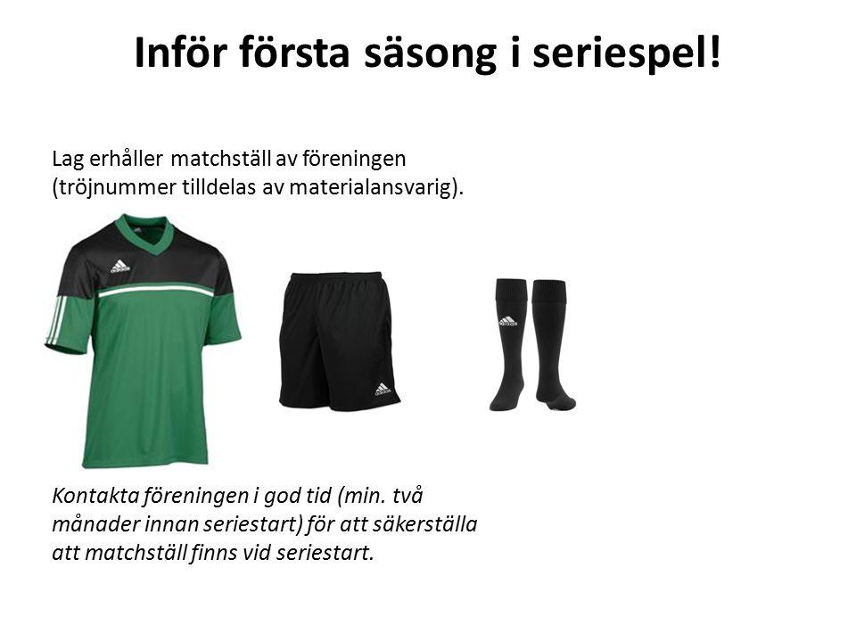 Löpande (vid behov) Lag erhåller vid behov nya matchtröjor och shorts av föreningen.