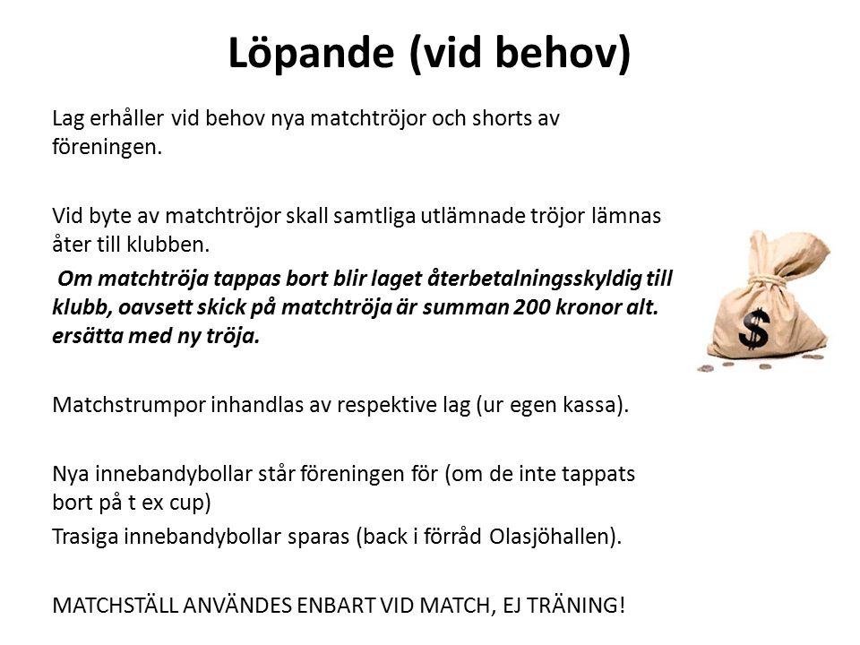 Löpande (vid behov) Lag erhåller vid behov nya matchtröjor och shorts av föreningen. Vid byte av matchtröjor skall samtliga utlämnade tröjor lämnas åt
