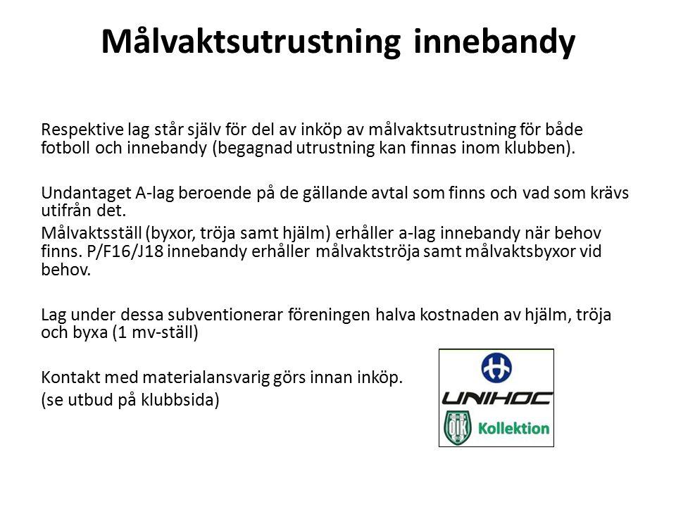 BESTÄLLNINGSRUTIN Det föreningen ska betala: Inköp som föreningen ska bekosta, skall rekvireras av materialansvarig och kassör via mail till Intersport.