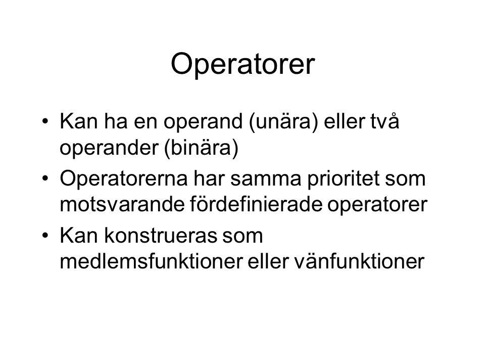 Operatorer Kan ha en operand (unära) eller två operander (binära) Operatorerna har samma prioritet som motsvarande fördefinierade operatorer Kan konstrueras som medlemsfunktioner eller vänfunktioner