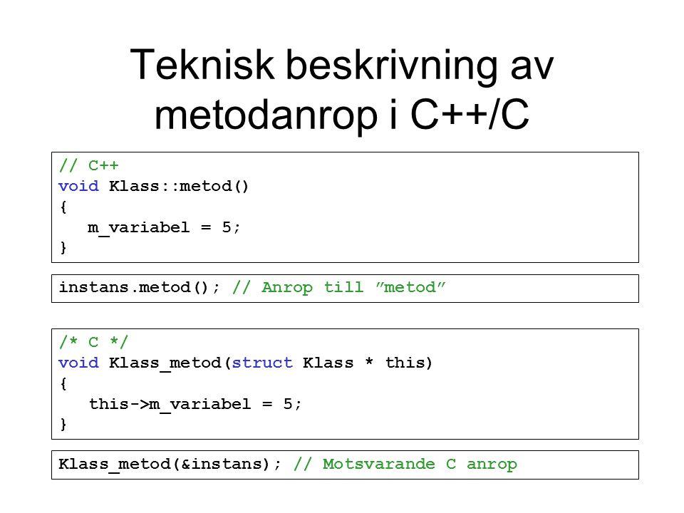 Teknisk beskrivning av metodanrop i C++/C // C++ void Klass::metod() { m_variabel = 5; } /* C */ void Klass_metod(struct Klass * this) { this->m_variabel = 5; } instans.metod(); // Anrop till metod Klass_metod(&instans); // Motsvarande C anrop