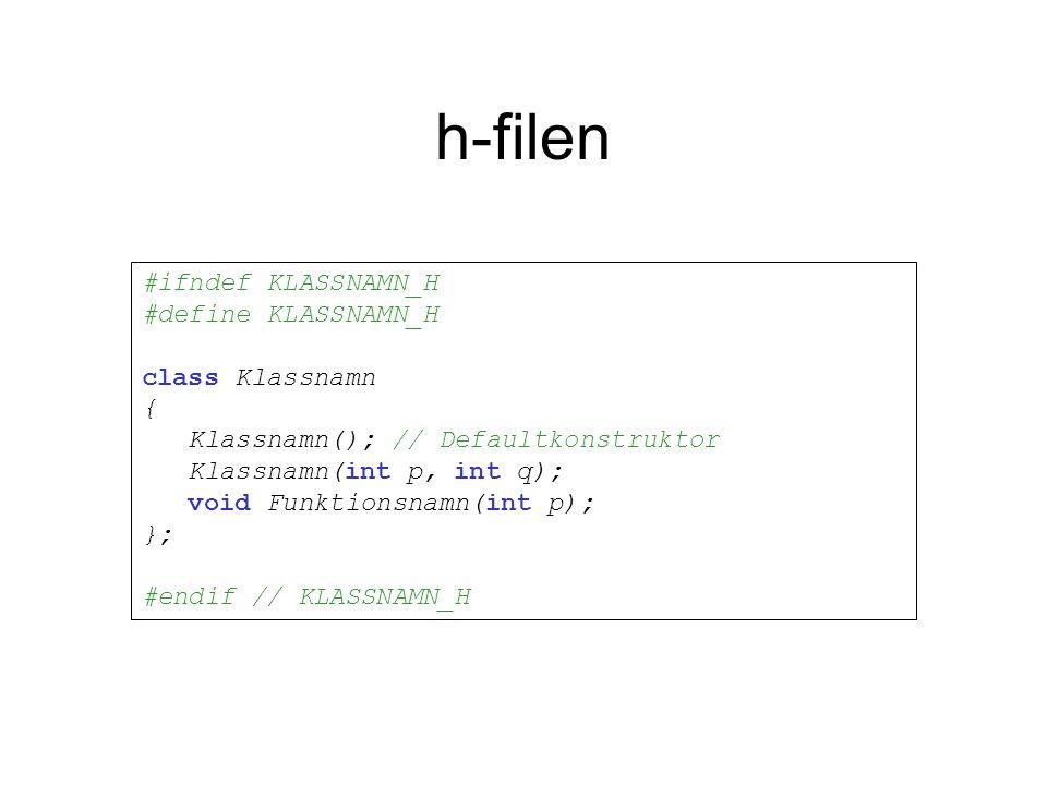 h-filen #ifndef KLASSNAMN_H #define KLASSNAMN_H class Klassnamn { Klassnamn(); // Defaultkonstruktor Klassnamn(int p, int q); void Funktionsnamn(int p); }; #endif // KLASSNAMN_H