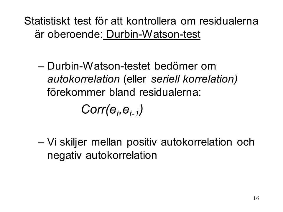 16 Statistiskt test för att kontrollera om residualerna är oberoende: Durbin-Watson-test –Durbin-Watson-testet bedömer om autokorrelation (eller serie