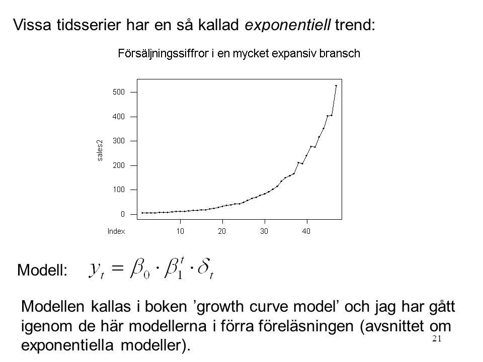 21 Vissa tidsserier har en så kallad exponentiell trend: Modell: Modellen kallas i boken 'growth curve model' och jag har gått igenom de här modellern
