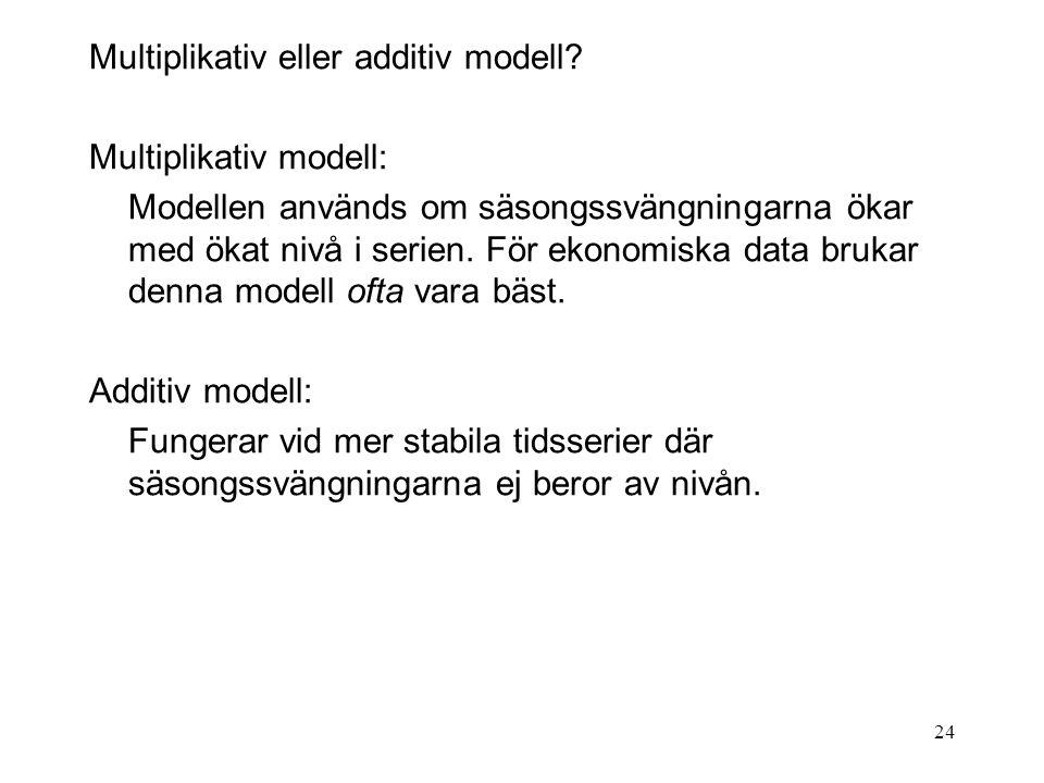24 Multiplikativ eller additiv modell? Multiplikativ modell: Modellen används om säsongssvängningarna ökar med ökat nivå i serien. För ekonomiska data
