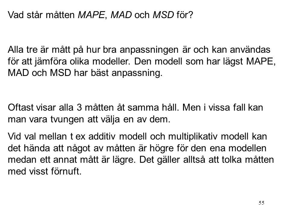 55 Vad står måtten MAPE, MAD och MSD för? Alla tre är mått på hur bra anpassningen är och kan användas för att jämföra olika modeller. Den modell som