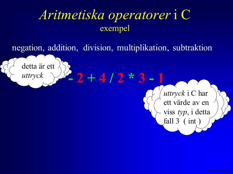 Anders Sjögren Aritmetiska operatorer i C exempel negation, addition, division, multiplikation, subtraktion - 2 + 4 / 2 * 3 - 1 detta är ett uttryck uttryck i C har ett värde av en viss typ, i detta fall 3 ( int )
