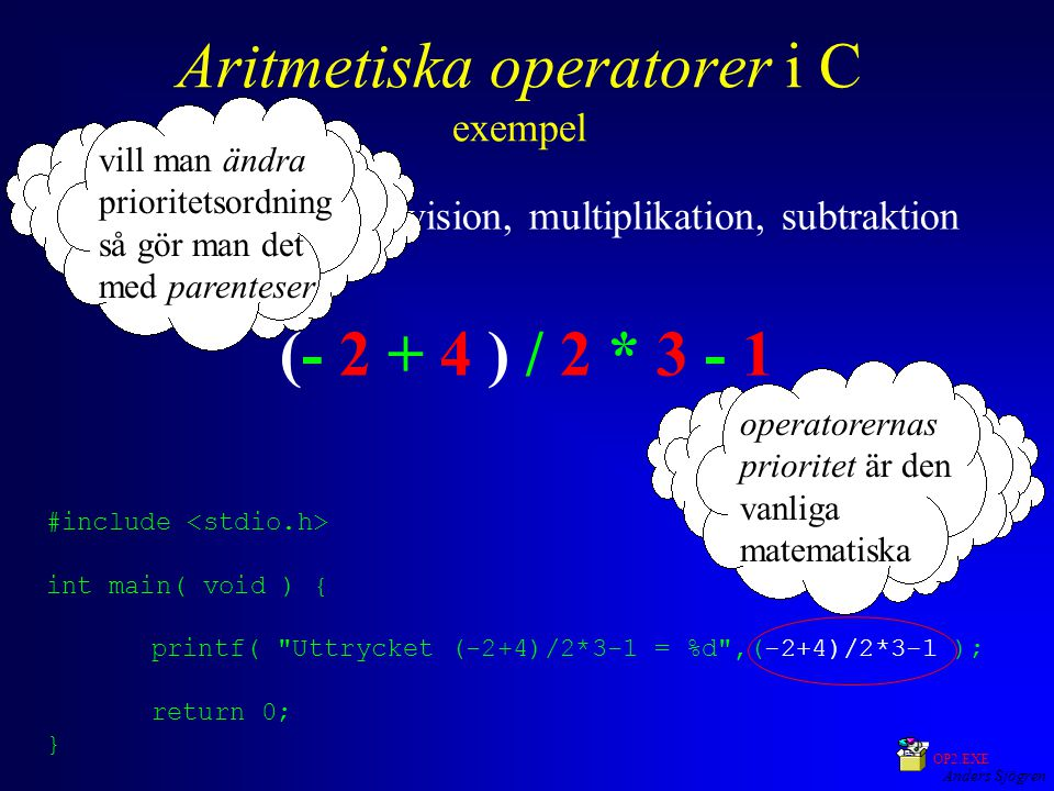 Anders Sjögren Aritmetiska operatorer i C exempel negation, addition, division, multiplikation, subtraktion (- 2 + 4 ) / 2 * 3 - 1 operatorernas prior