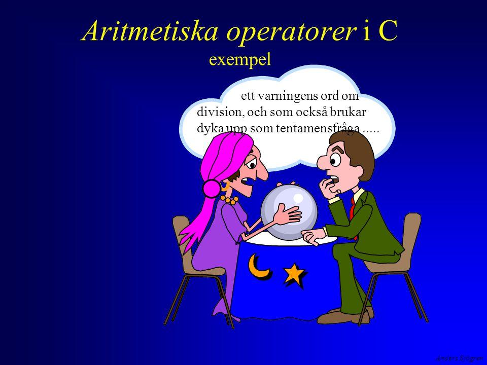 Anders Sjögren Aritmetiska operatorer i C exempel ett varningens ord om division, och som också brukar dyka upp som tentamensfråga.....