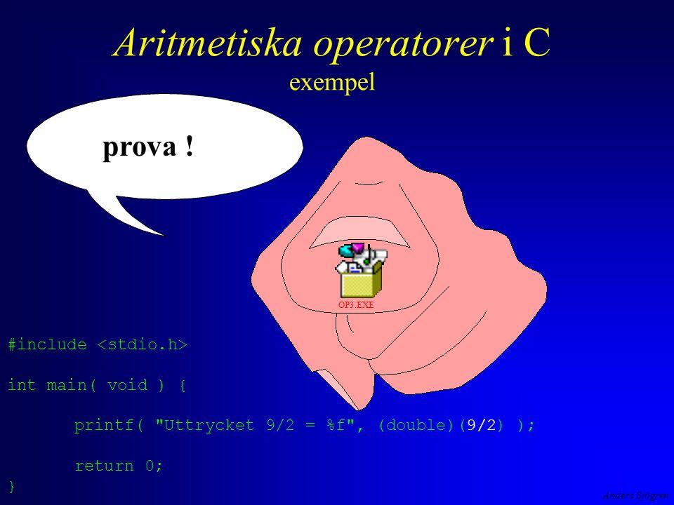 Anders Sjögren Aritmetiska operatorer i C exempel prova .