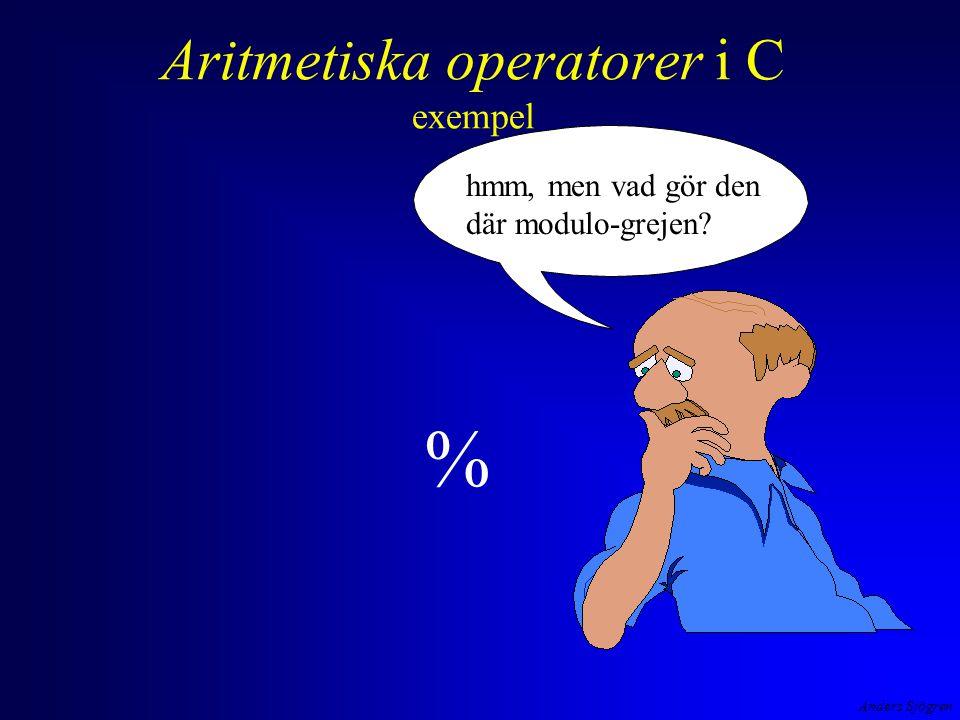 Anders Sjögren Aritmetiska operatorer i C exempel hmm, men vad gör den där modulo-grejen %