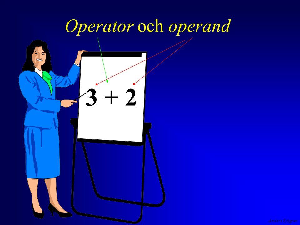 Anders Sjögren Aritmetiska operatorer i C exempel negation, addition, division, multiplikation, subtraktion - 2 + 4 / 2 * 3 - 1 detta är ett uttryck uttryck i C har ett värde av en viss typ, i detta fall 3 ( int )