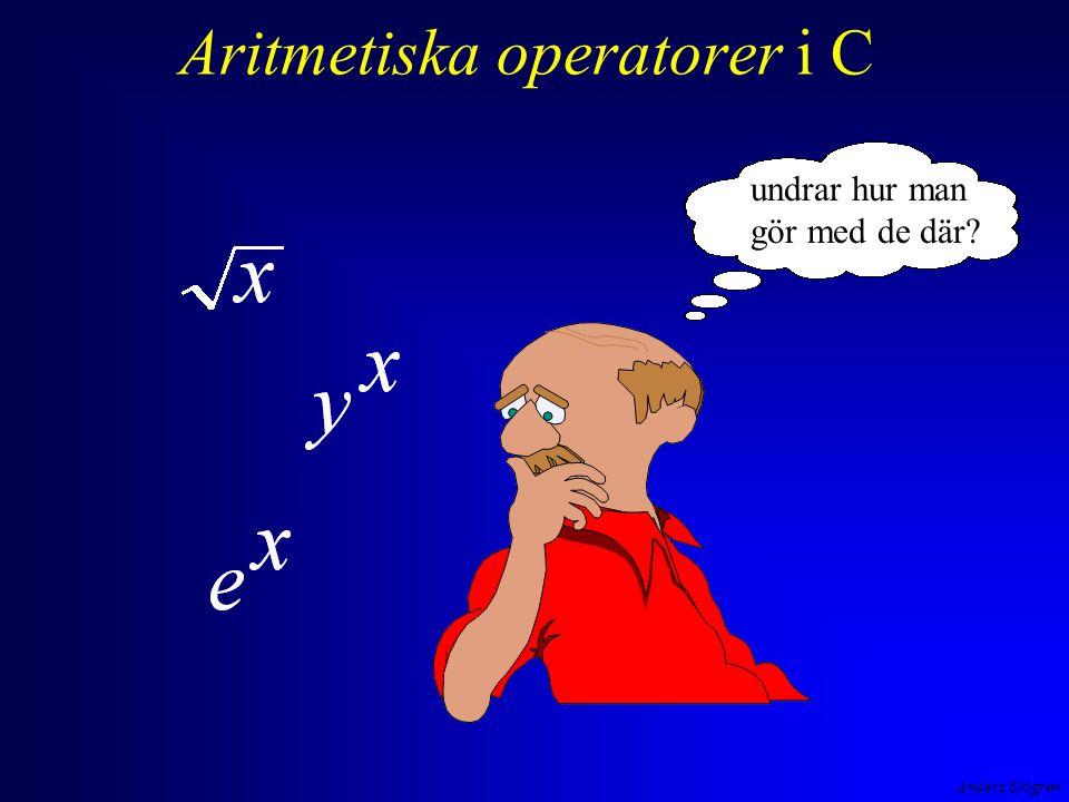 Anders Sjögren Aritmetiska operatorer i C undrar hur man gör med de där