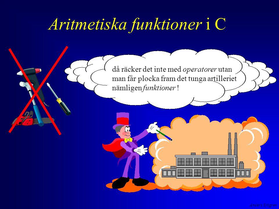 Anders Sjögren Aritmetiska funktioner i C då räcker det inte med operatorer utan man får plocka fram det tunga artilleriet nämligen funktioner !