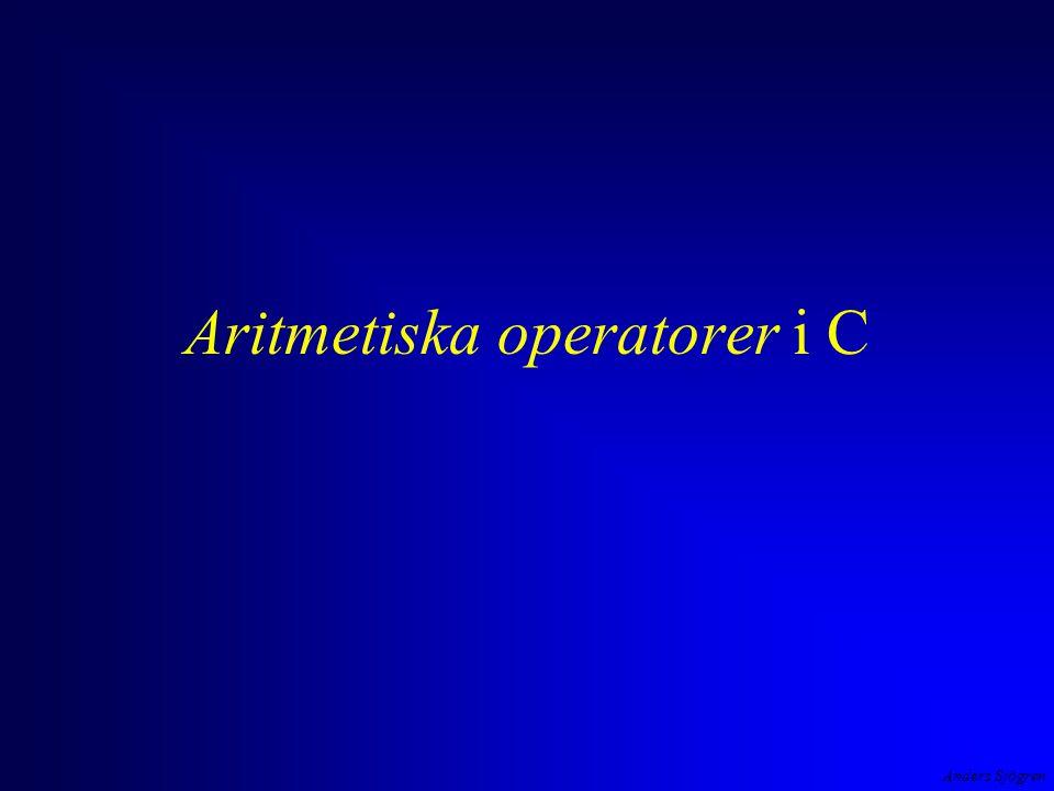 Anders Sjögren Aritmetiska operatorer i C exempel negation, addition, division, multiplikation, subtraktion - 2 + 4 / 2 * 3 - 1 detta är ett uttryck uttryck i C har ett värde av en viss typ, i detta fall 3 ( int ) #include int main( void ) { printf( Uttrycket -2+4/2*3-1 = %d ,-2+4/2*3-1 ); return 0; } OP1.EXE