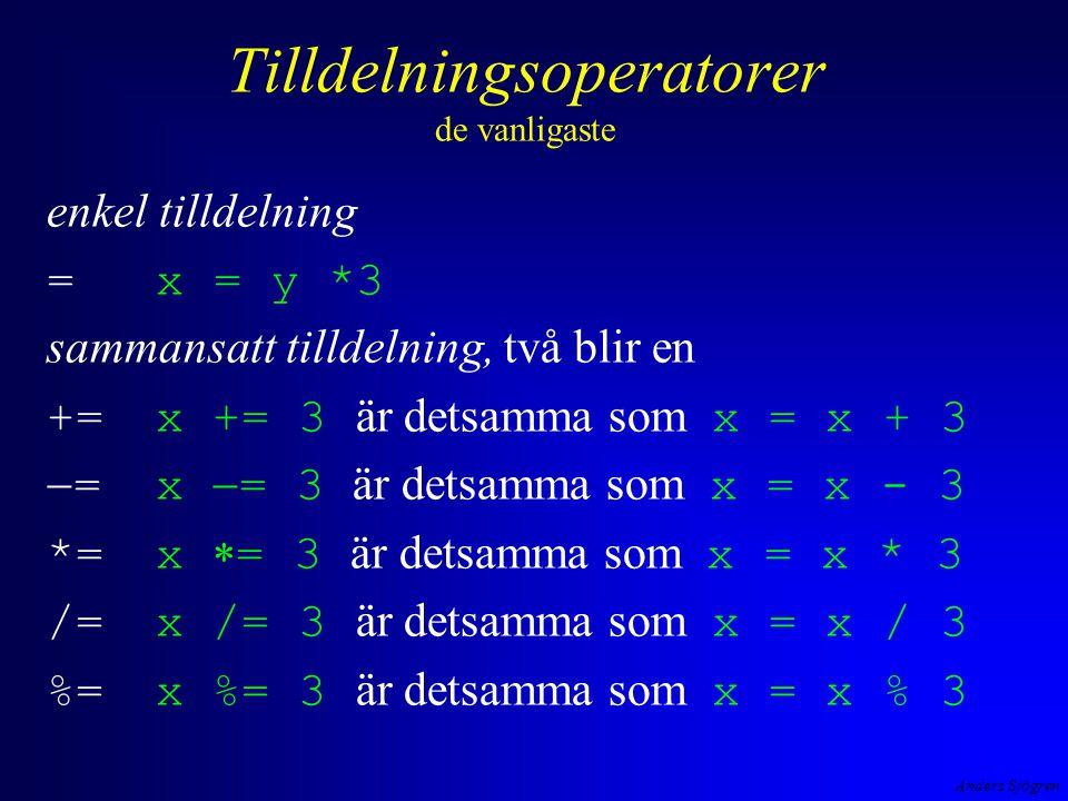 Anders Sjögren Tilldelningsoperatorer de vanligaste enkel tilldelning =x = y *3 sammansatt tilldelning, två blir en +=x += 3 är detsamma som x = x + 3  =x  = 3 är detsamma som x = x - 3 *=x  = 3 är detsamma som x = x * 3 /= x /= 3 är detsamma som x = x / 3 %=x %= 3 är detsamma som x = x % 3