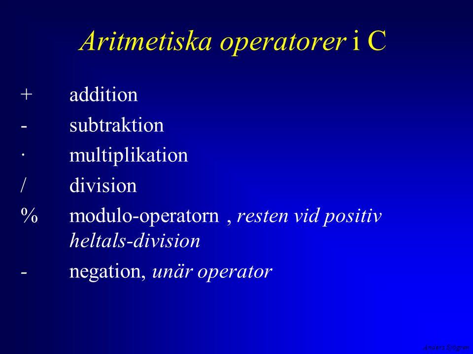 Anders Sjögren Aritmetiska operatorer i C exempel negation, addition, division, multiplikation, subtraktion - 2 + 4 / 2 * 3 - 1 operatorernas prioritet är den vanliga matematiska