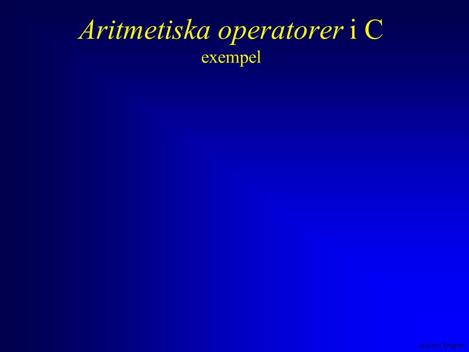 Anders Sjögren Aritmetiska operatorer i C exempel negation, addition, division, multiplikation, subtraktion (- 2 + 4 ) / 2 * 3 - 1 operatorernas prioritet är den vanliga matematiska vill man ändra prioritetsordning så gör man det med parenteser #include int main( void ) { printf( Uttrycket (-2+4)/2*3-1 = %d ,(-2+4)/2*3-1 ); return 0; } OP2.EXE