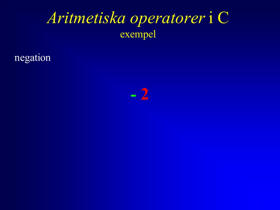 Anders Sjögren Aritmetiska operatorer i C exempel negation, addition - 2 + 4