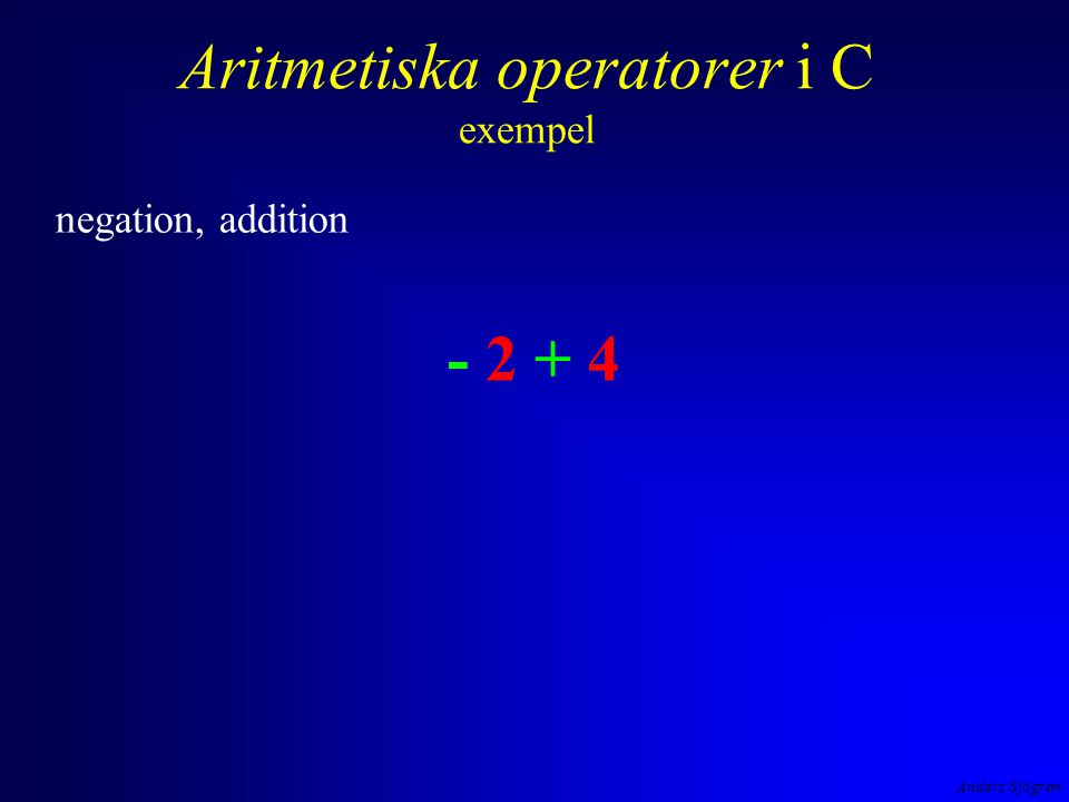 Anders Sjögren Aritmetiska operatorer i C exempel negation, addition - 2 + 4