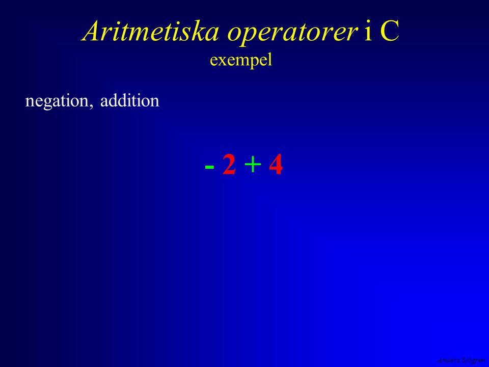 Anders Sjögren Aritmetiska operatorer i C exempel multiplikation t ex 7*3 är ju detsamma som att addera 7 3 ggr (7+7+7).