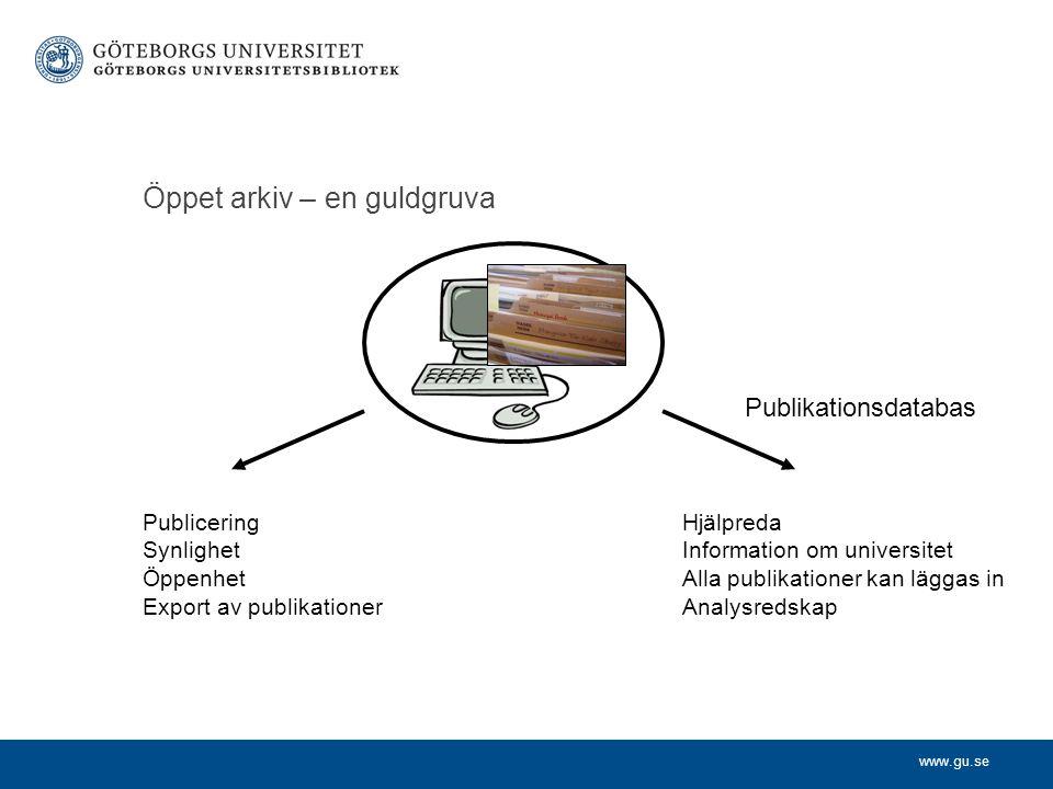 www.gu.se Öppet arkiv – en guldgruva Publicering Synlighet Öppenhet Export av publikationer Hjälpreda Information om universitet Alla publikationer ka