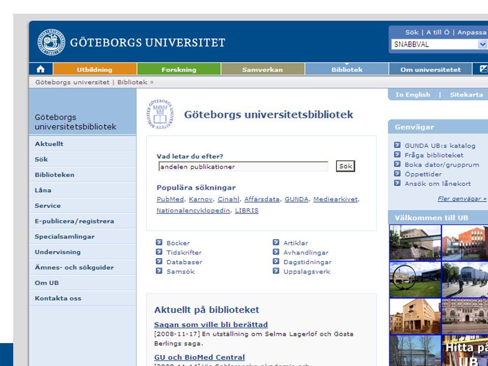 www.gu.se Håkan Carlsson Hakan.Carlsson@ub.gu.se Hakan.Carlsson@ub.gu.se www.ub.gu.se/bibliometri