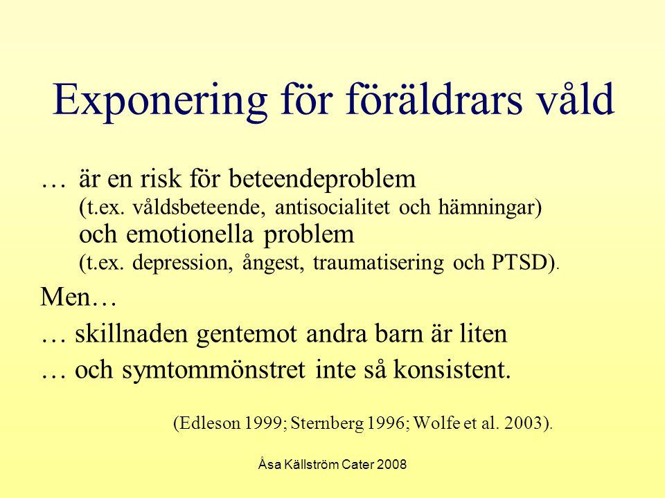 Åsa Källström Cater 2008 Exponering för föräldrars våld … är en risk för beteendeproblem ( t.ex. våldsbeteende, antisocialitet och hämningar) och emot