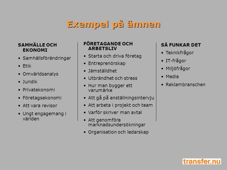 Exempel på ämnen SAMHÄLLE OCH EKONOMI Samhällsförändringar Etik Omvärldsanalys Juridik Privatekonomi Företagsekonomi Att vara revisor Ungt engagemang
