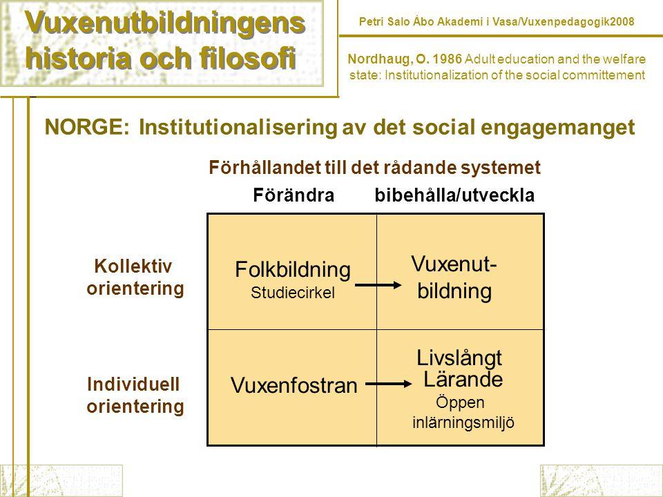 Vuxenutbildningens historia och filosofi Vuxenutbildningens historia och filosofi Petri Salo Åbo Akademi i Vasa/Vuxenpedagogik2008 Nordhaug, O.