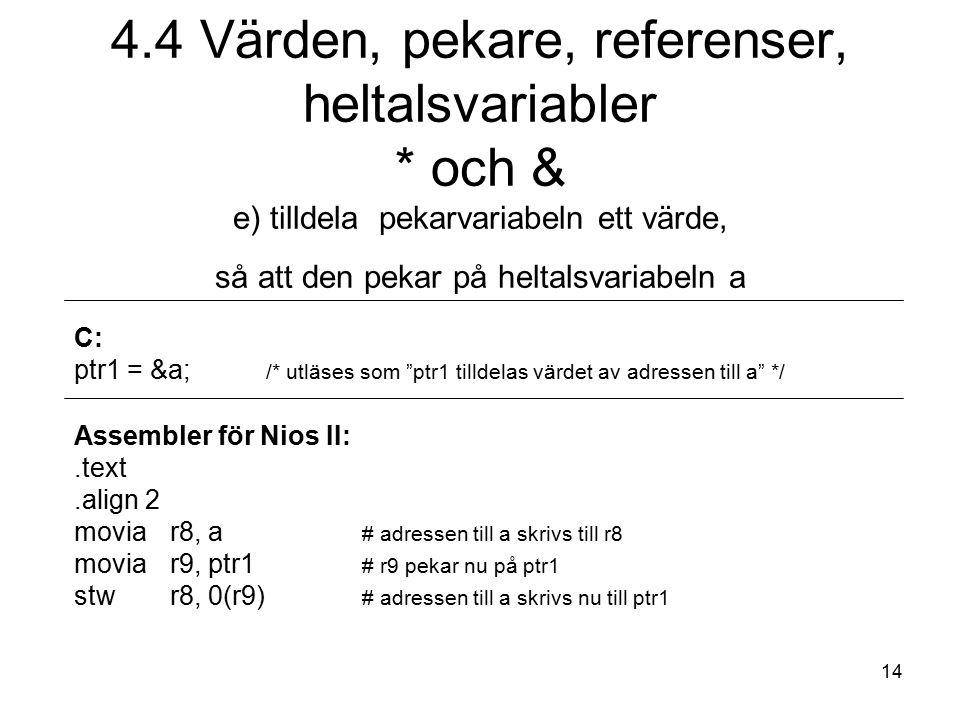 14 C: ptr1 = &a; /* utläses som ptr1 tilldelas värdet av adressen till a */ Assembler för Nios II:.text.align 2 moviar8, a # adressen till a skrivs till r8 movia r9, ptr1 # r9 pekar nu på ptr1 stw r8, 0(r9) # adressen till a skrivs nu till ptr1 4.4 Värden, pekare, referenser, heltalsvariabler * och & e) tilldela pekarvariabeln ett värde, så att den pekar på heltalsvariabeln a