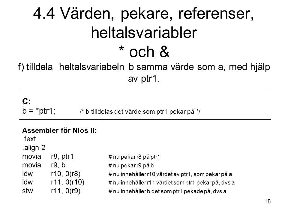 15 C: b = *ptr1; /* b tilldelas det värde som ptr1 pekar på */ Assembler för Nios II:.text.align 2 moviar8, ptr1 # nu pekar r8 på ptr1 movia r9, b # n