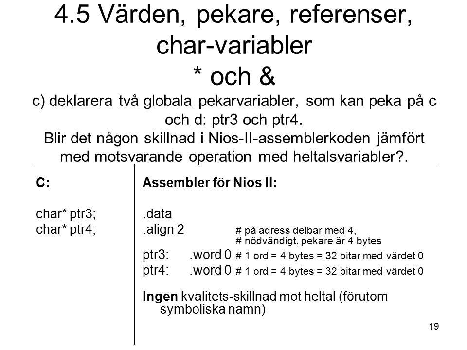 19 C: char* ptr3; char* ptr4; Assembler för Nios II:.data.align 2 # på adress delbar med 4, # nödvändigt, pekare är 4 bytes ptr3:.word 0 # 1 ord = 4 bytes = 32 bitar med värdet 0 ptr4:.word 0 # 1 ord = 4 bytes = 32 bitar med värdet 0 Ingen kvalitets-skillnad mot heltal (förutom symboliska namn) 4.5 Värden, pekare, referenser, char-variabler * och & c) deklarera två globala pekarvariabler, som kan peka på c och d: ptr3 och ptr4.