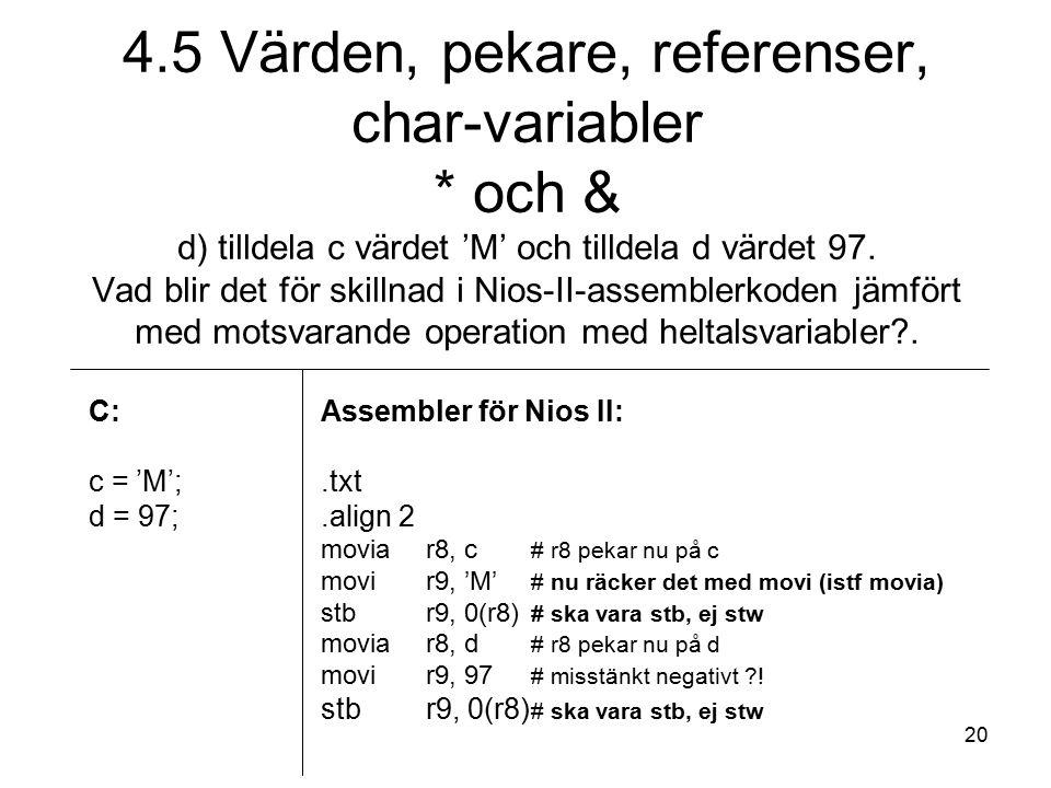 20 C: c = 'M'; d = 97; Assembler för Nios II:.txt.align 2 moviar8, c # r8 pekar nu på c movir9, 'M' # nu räcker det med movi (istf movia) stbr9, 0(r8) # ska vara stb, ej stw moviar8, d # r8 pekar nu på d movir9, 97 # misstänkt negativt .