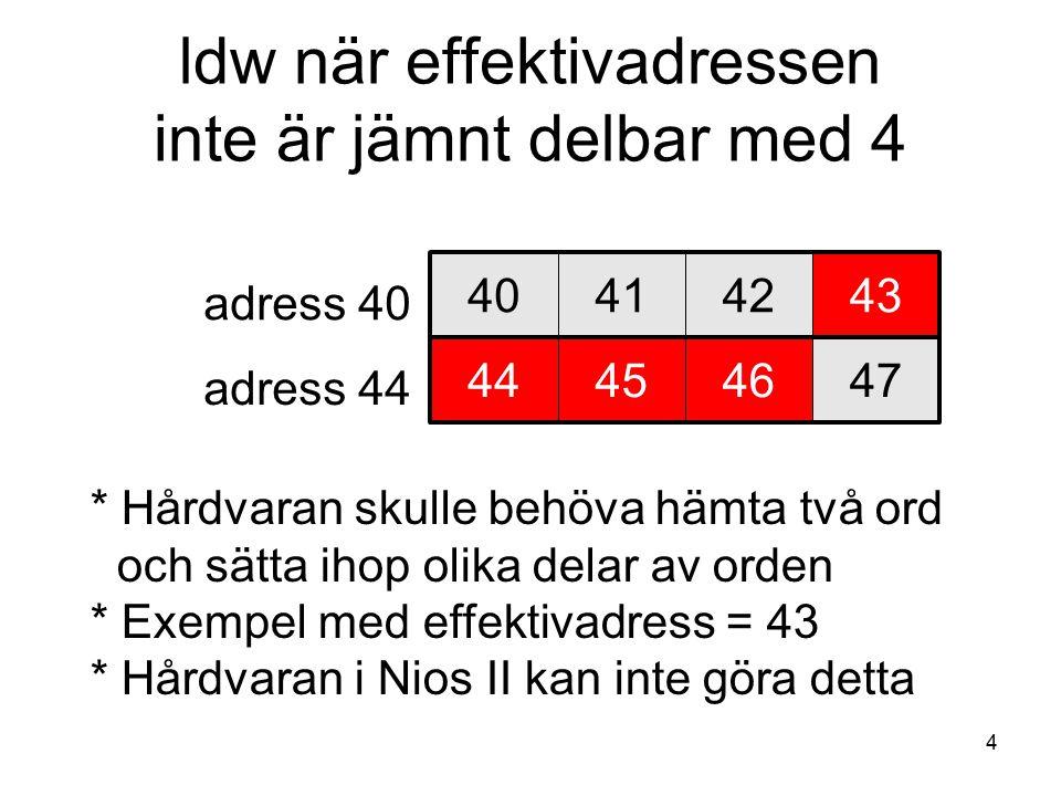 4 ldw när effektivadressen inte är jämnt delbar med 4 40414243 adress 40 adress 44 44454647 * Hårdvaran skulle behöva hämta två ord och sätta ihop olika delar av orden * Exempel med effektivadress = 43 * Hårdvaran i Nios II kan inte göra detta