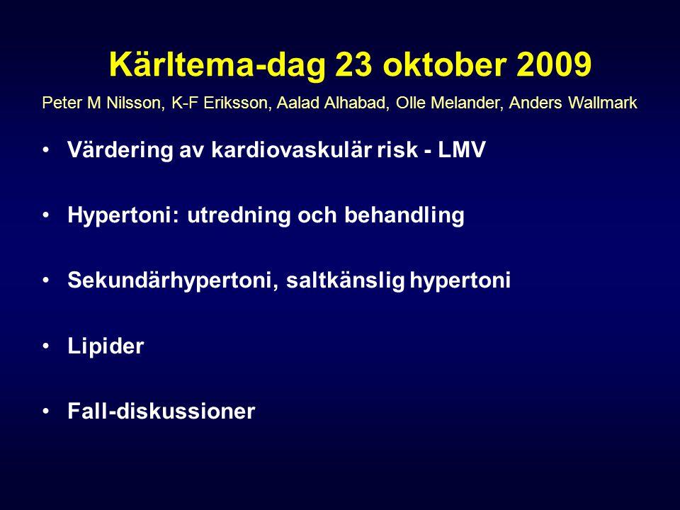 Kärltema-dag 23 oktober 2009 Värdering av kardiovaskulär risk - LMV Hypertoni: utredning och behandling Sekundärhypertoni, saltkänslig hypertoni Lipid