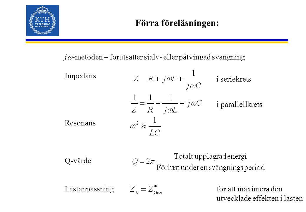 Förra föreläsningen: j  -metoden – förutsätter själv- eller påtvingad svängning Impedans Resonans Q-värde Lastanpassning i seriekrets i parallellkrets för att maximera den utvecklade effekten i lasten