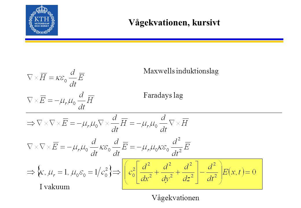 Vågekvationen, kursivt Maxwells induktionslag Faradays lag I vakuum Vågekvationen