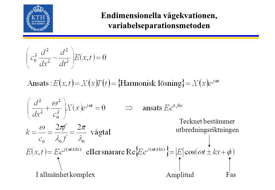 Endimensionella vågekvationen, variabelseparationsmetoden I allmänhet komplex Amplitud Fas Tecknet bestämmer utbredningsriktningen