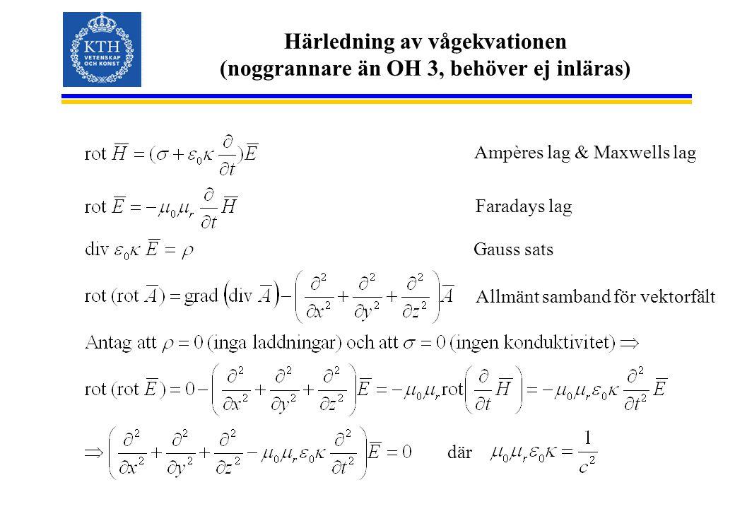 Härledning av vågekvationen (noggrannare än OH 3, behöver ej inläras) Gauss sats Ampères lag & Maxwells lag Faradays lag Allmänt samband för vektorfält där